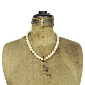 Swarovski Blue Crystal Pearl Necklace